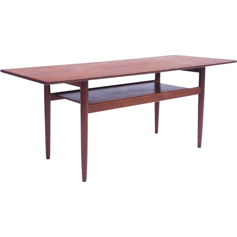 Vintage scandinavian coffee table, double danish top 1960