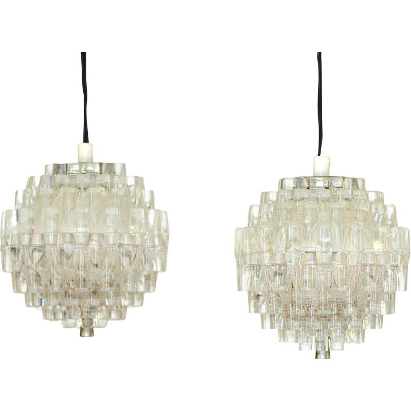 Pair of vintage glass pendant lights by Carl Fagerlund for Orrefors. Sweden 1960s