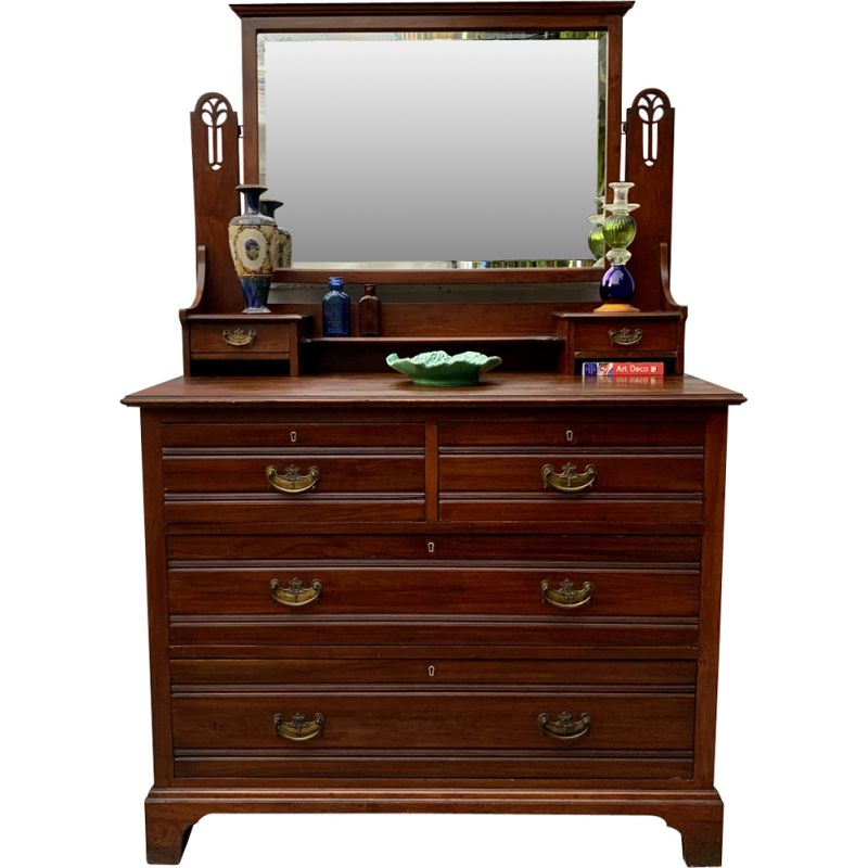 Large vintage  Arts and Crafts Dressing Table Drawers with Mirror