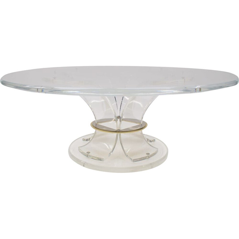 Vintage Acrylic Coffee Table with Bicolor Ring, Italian 1970s