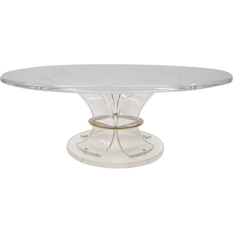 Vintage acrylic coffee table with bicolor ring, Italy 1970