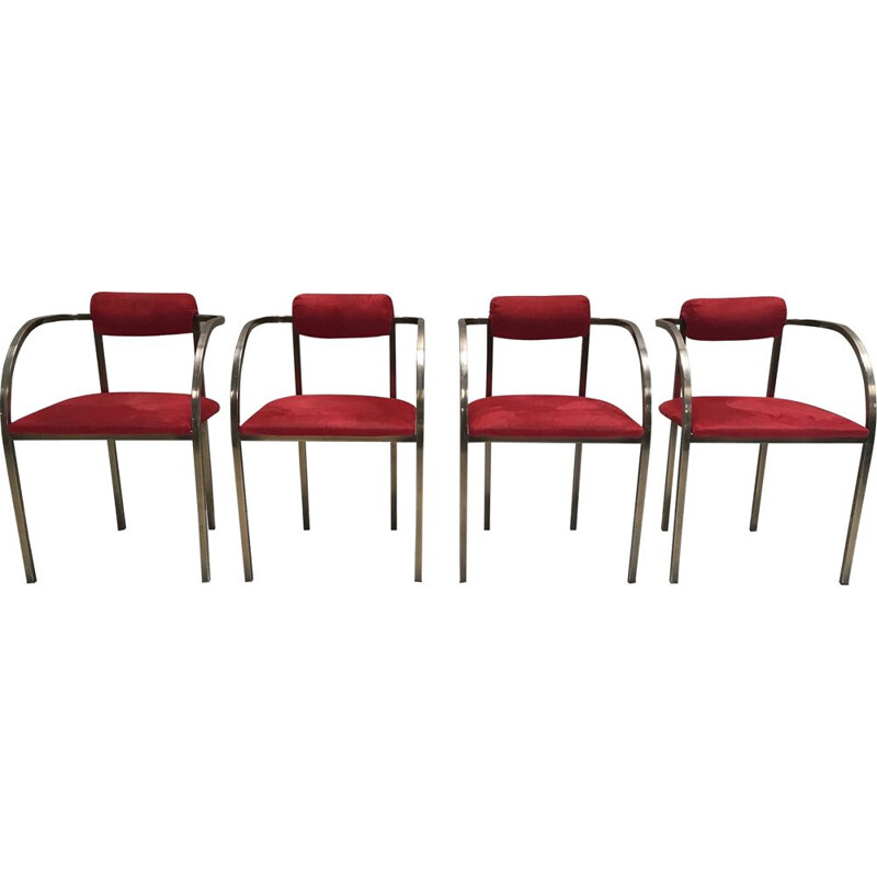 Set of 4 vintage brass and velours art deco yacht chairs USA 1970s
