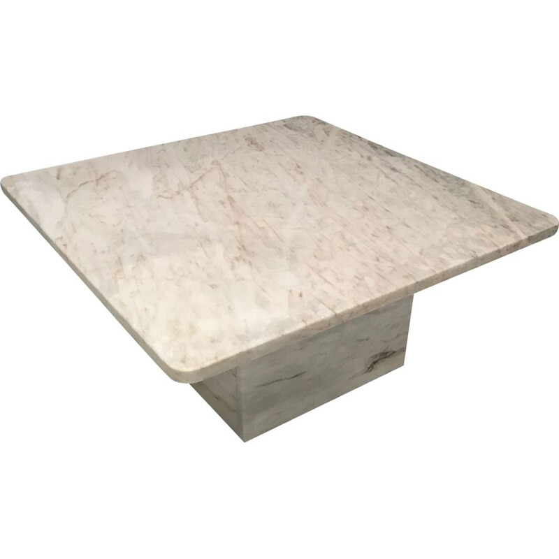 Vintage white marble coffee table in the style of Roche Bobois 1970s