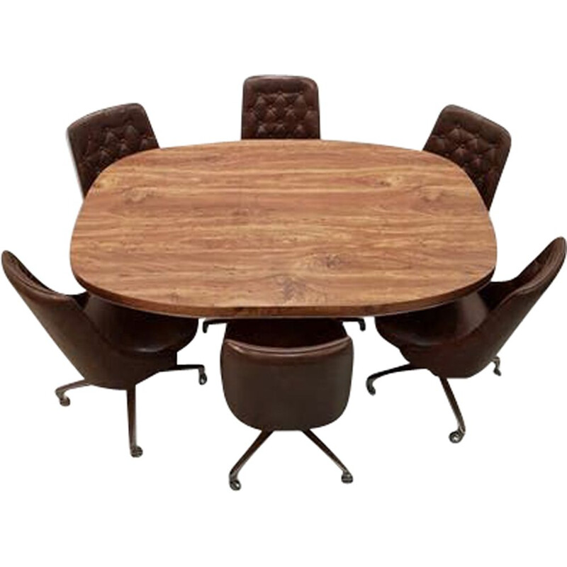Dining table and 6 vintage chairs Shelby Williams