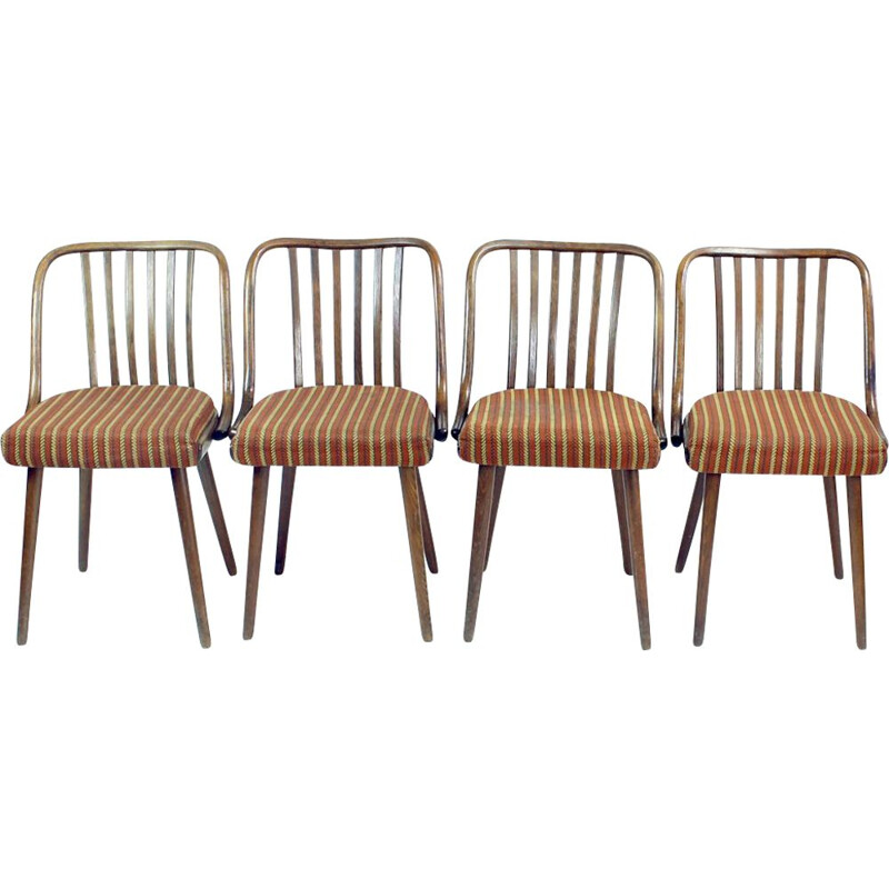 Set of 4 vintage bentwood chairs from Thonet, Czechoslovakia 1960