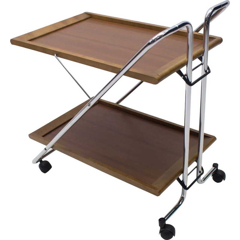 Vintage folding serving trolley in walnut and chrome 1960