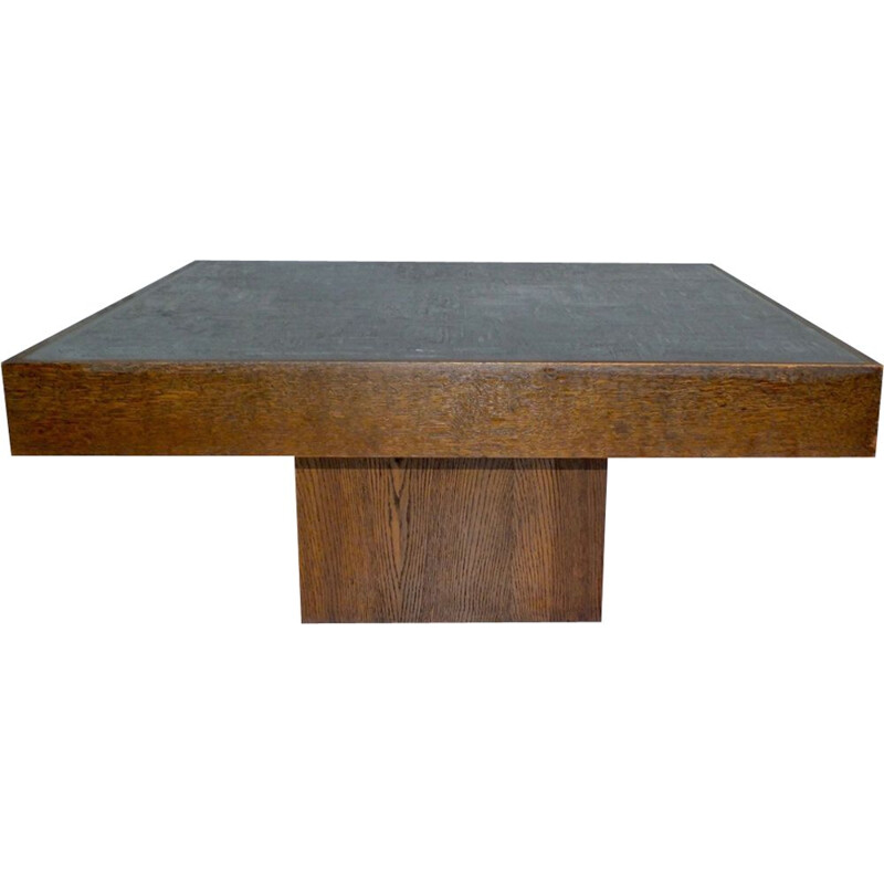 Vintage brutalist coffee table in zinc and engraved wood, Bernhard Rohne 1960