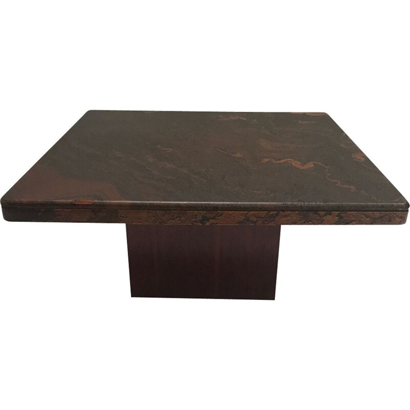 Vintage Brutalist stone and brass mosaic coffee table germany 1970s