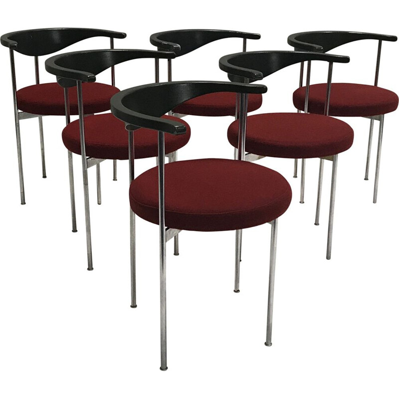 Set of 6 vintage chairs 3200 by Frederik Sieck for Fritz Hansen 1960
