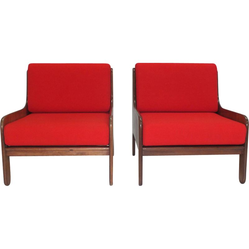 Pair of vintage Baronet rosewood lounge armchairs by Marco Zanuso for Arflex Italy 1964