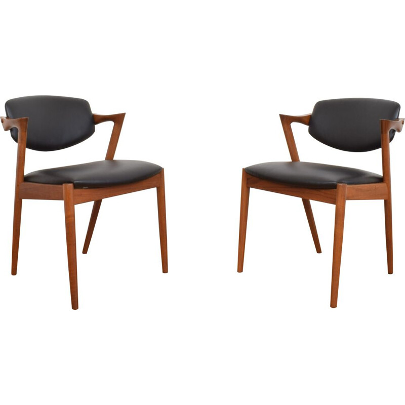 Pair of Mid-Century Teak and Leather Dining Chairs Model 42 by Kai Kristiansen for Schou Andersen, Danish 1960s
