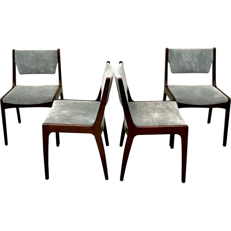 Set of 4 vintage chairs solid mahogany 1970