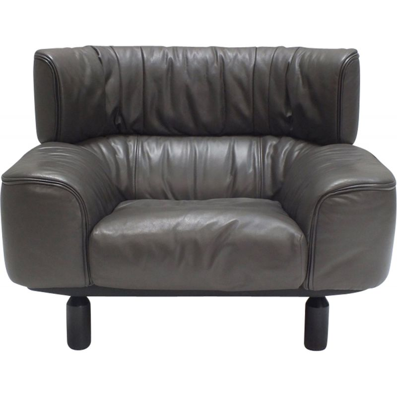 Vintage bull leather armchair by Gianfranco Frattini for Cassina 1987