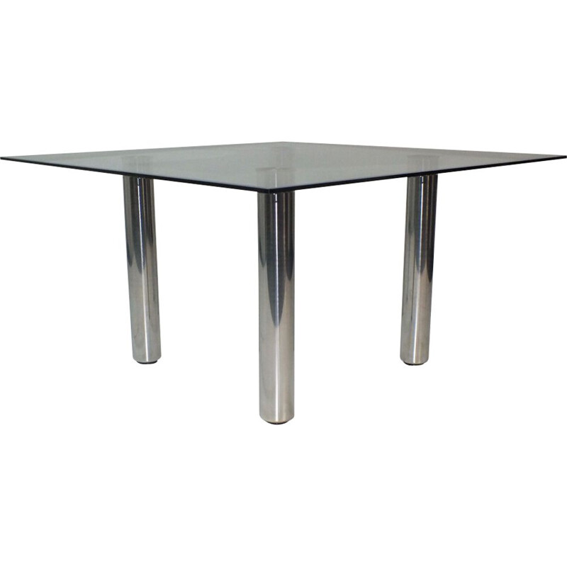 Vintage square dining table Brentano in glass by Emaf Progetti for Zanotta Italy 1980