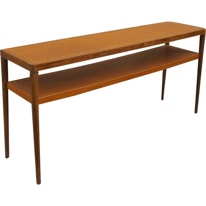 Vintage wooden and leather console