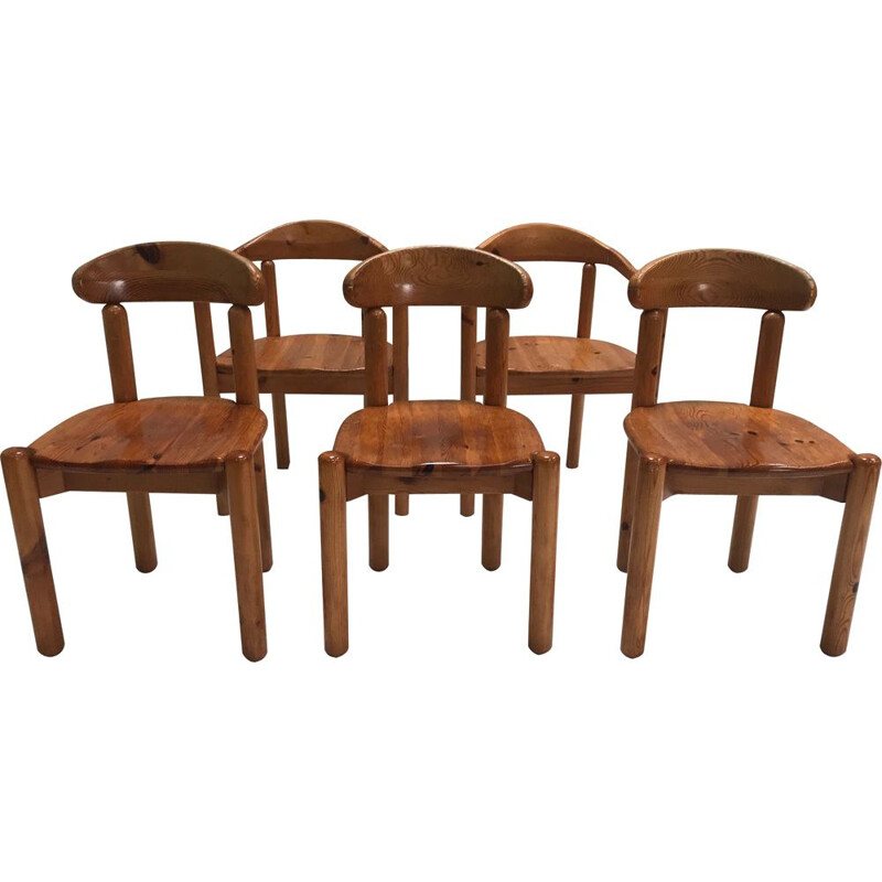 Set of 5 vintage Pine dining chair by Rainer Daumiller for Hirtshals Savvaerk 1980s