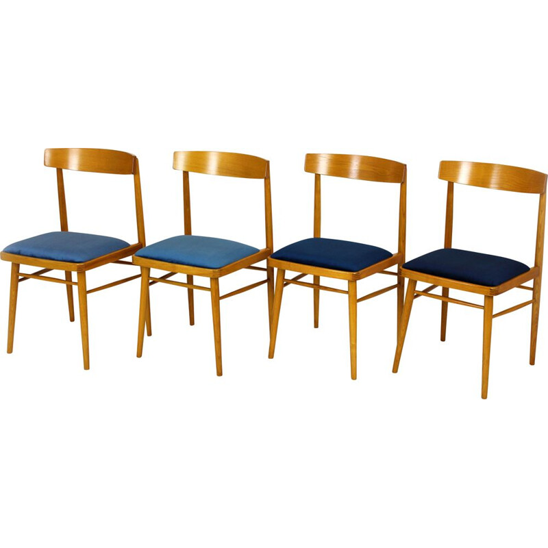 Set of 4 Ash Dining Chairs from TON, 1960s