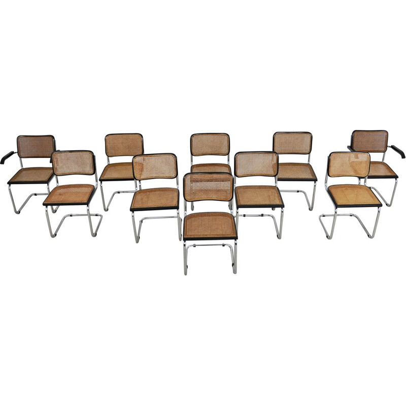 Set of 10 vintage armchairs B32 by Marcel Breuer