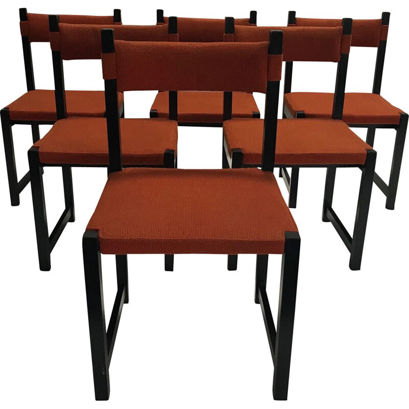 Set of 6 vintage Brutalist stained oak dining chair by Emiel Veranneman for De Coene Belgium 1970s