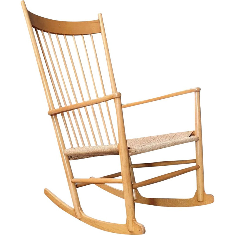 Vintage J16 beech rocking chair by Hans J. Wegner for Fredicia Denmark 1970s