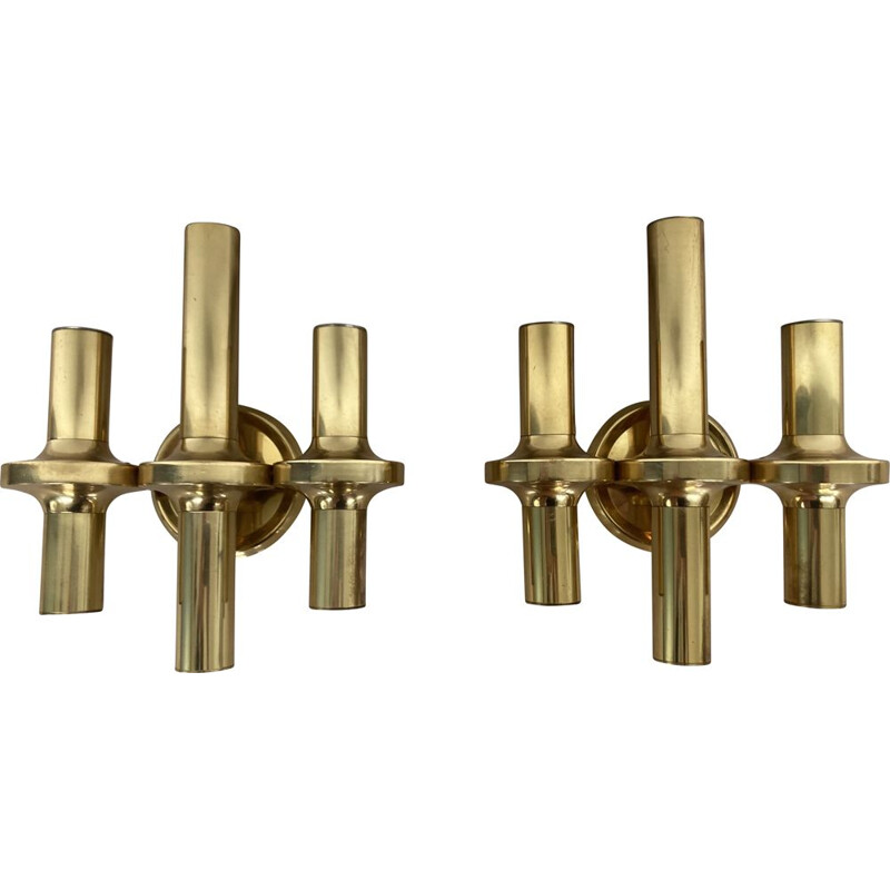 Pair of vintage brass wall lamps  scones  Italy 1960s