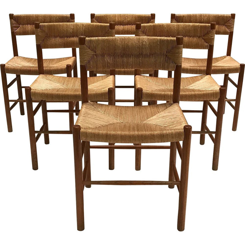 Set of 6 vintage Dordogne dining chair by Charlotte Perriand for Robert Sentou 1950s