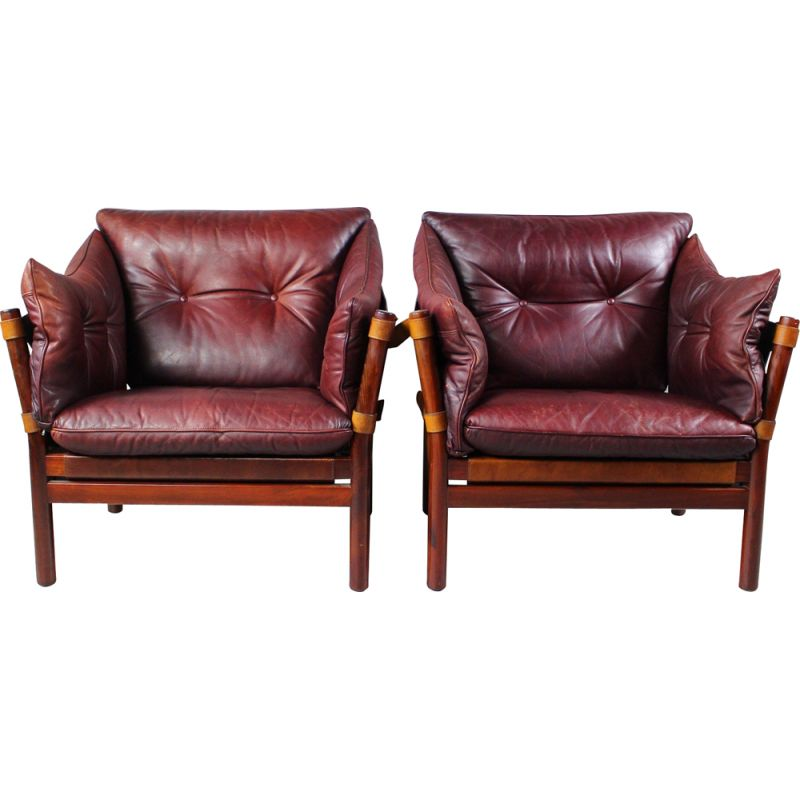 Pair of vintage Ilona Chairs in Leather by Arne Norell, Aneby Møbler 1960s