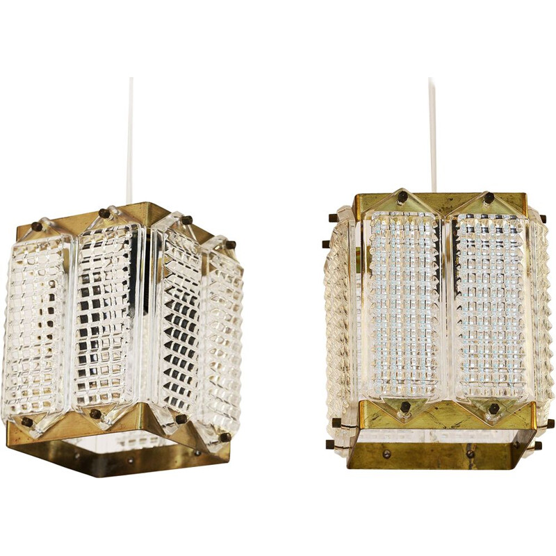 Pair of vintage brass and glass pendant lights by Wiktor Berndt for Flygsfors Sweden 1960s