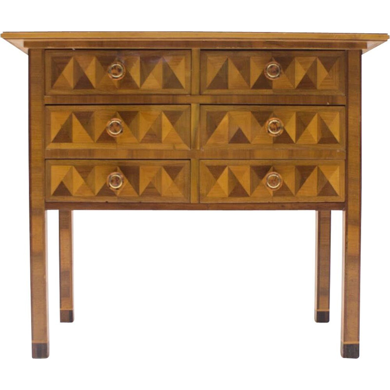Vintage 3D Pattern Chest of Drawers, 1930s