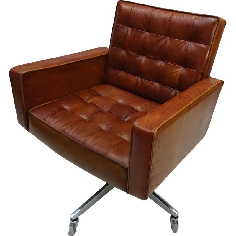 Vintage leather and aluminium Mid Century Knoll cognac office chair by Vincent Cafiero 1950