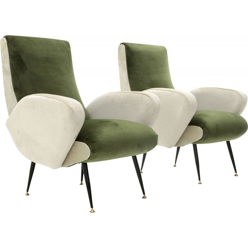 Pair of vintage armchairs in green and white velvet, 1950s