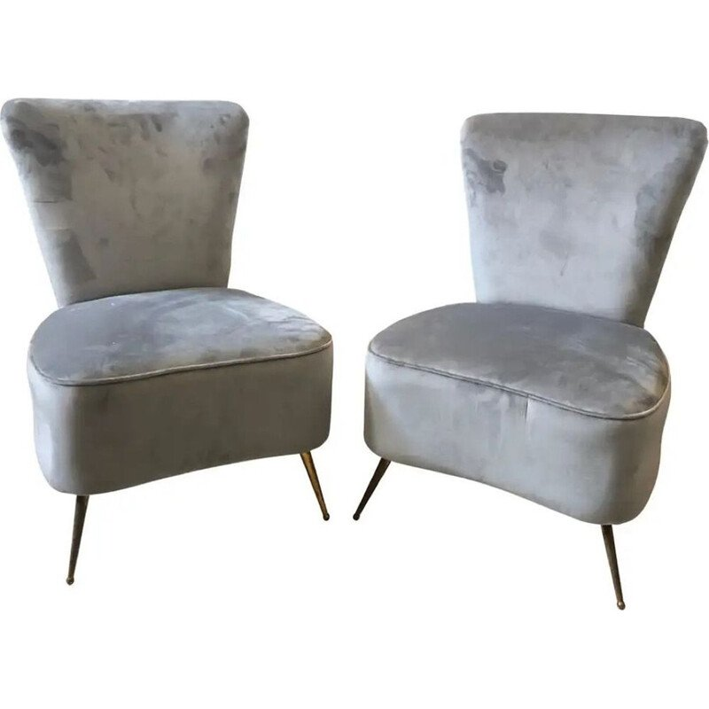 Pair of Mid-Century Grey Velvet and Brass Italian Armchairs 1950