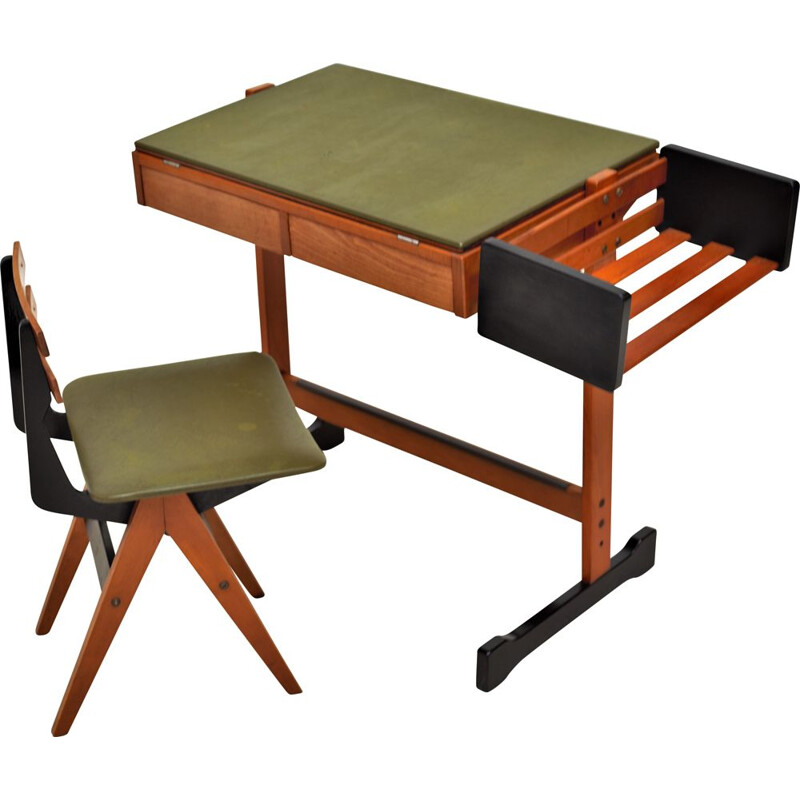 Vintage desk and chair Fratelli Reguitti 1960