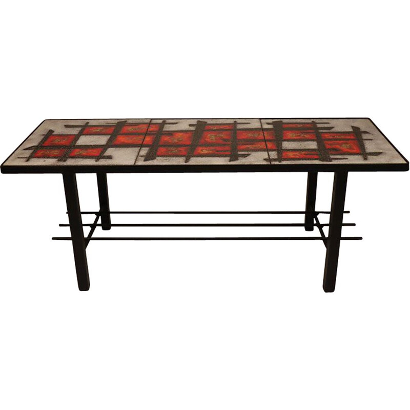 Vintage enamelled lava stone coffee table 1960