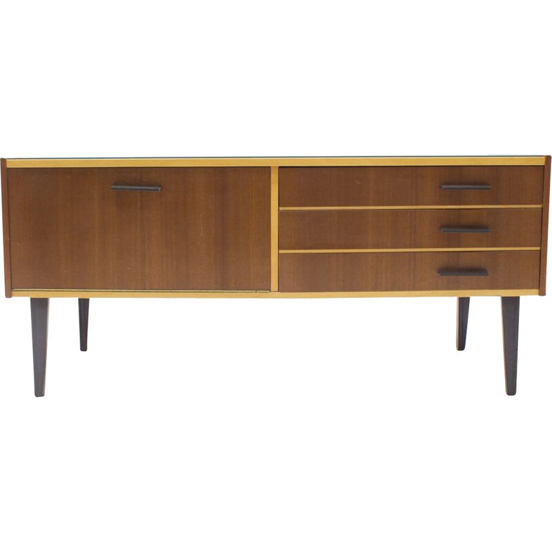 Small Mid-Century Sideboard with Glass Top, 1960s