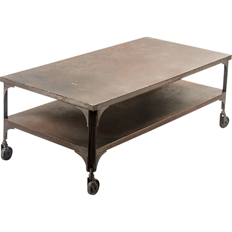 Vintage Industrial Iron Coffee Table with Wheels, 1950s