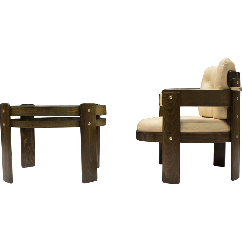 Mid-Century Armchair and Side Table Set, 1960s