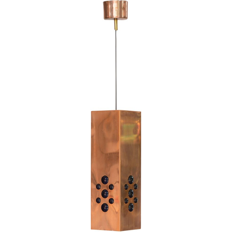 Vintage Copper pendant light by Hans-Agne Jakobsson for H-A Jakobsson AB, Markaryd Sweden 1960s