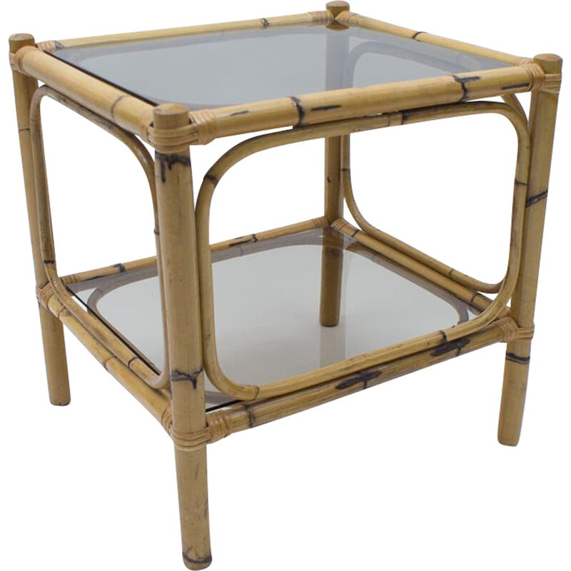 Mid-Century Bamboo and Smoked Glass Side Table, Italian 1960s