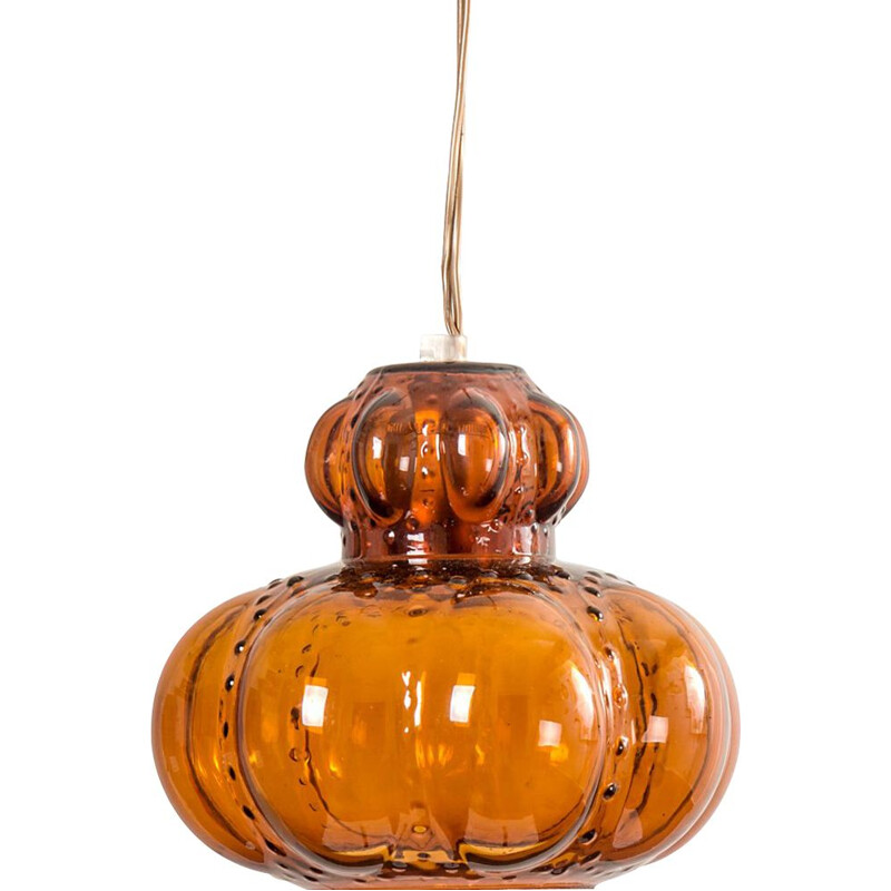 Vintage Amber Glass Pendant Lamp, 1960s