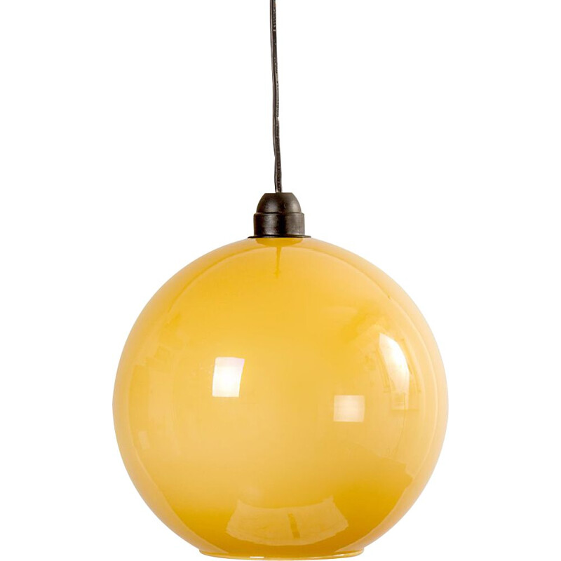 Vintage Yellow Opaline Glass Ceiling Lamp, 1960s