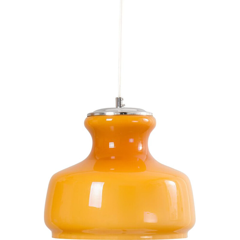 Vintage Orange Opaline Glass pendant lamp, 1960s