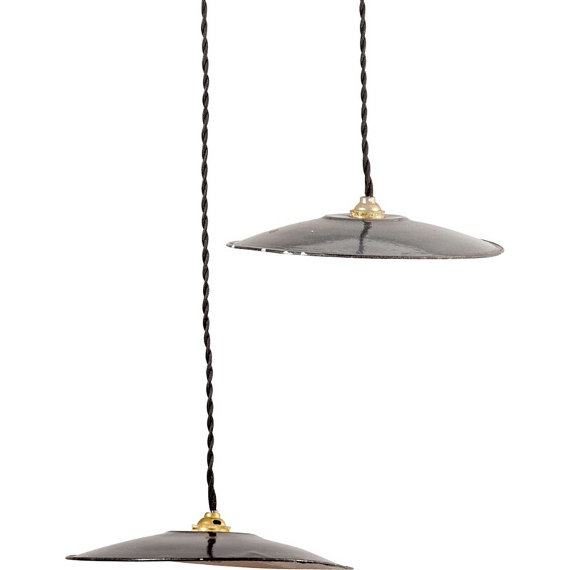 Small vintage Black Pendant Lamp, French 1950s