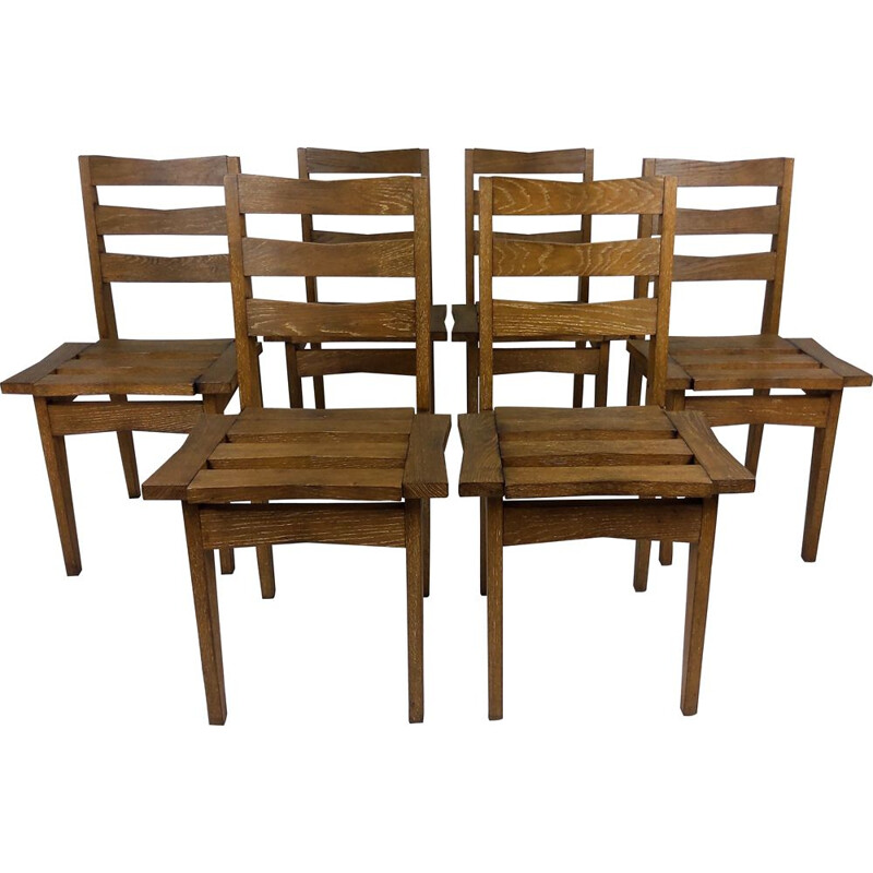 6 Vintage oak chairs by Maurice Pré and Janette Laverrière 1950