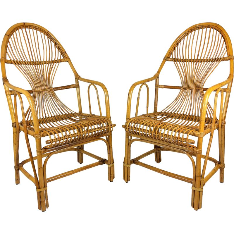 Pair of Large vintage bamboo rattan armchairs 1960