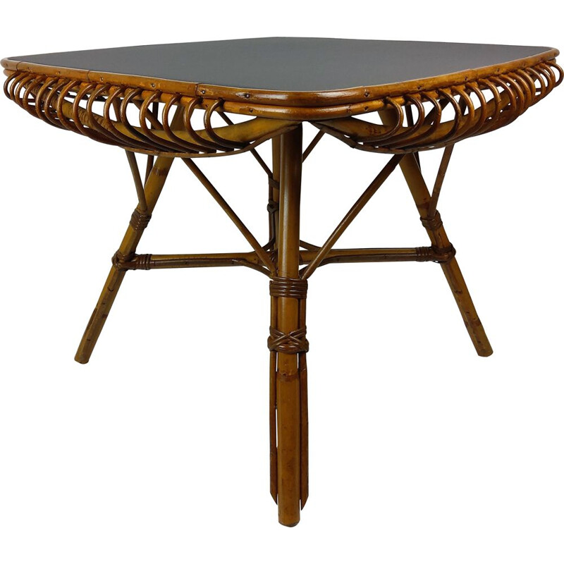 Vintage square bamboo and rattan table 1960