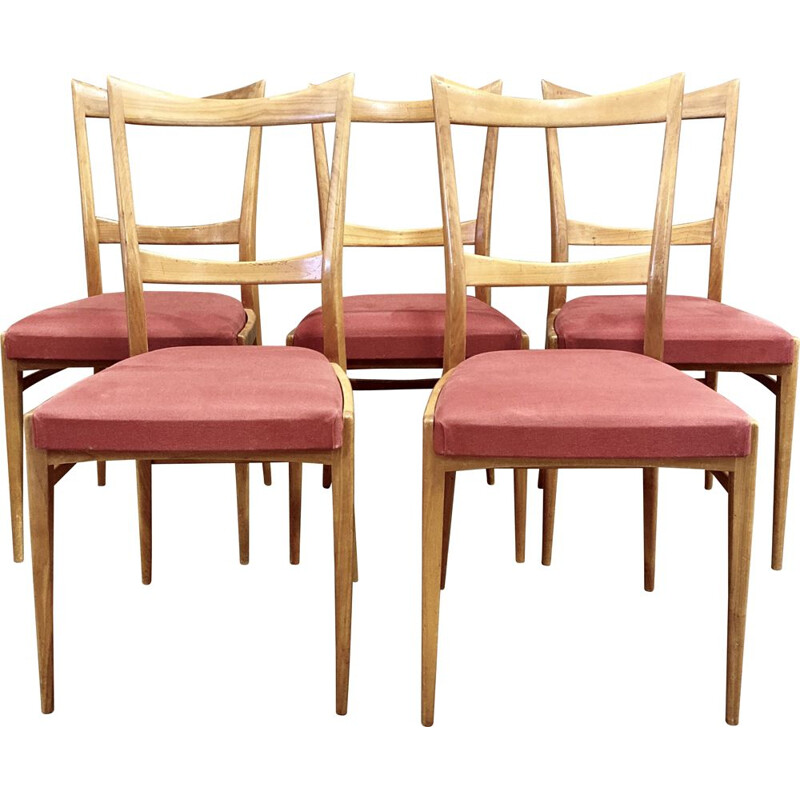 Set of 5 vintage scandinavian chairs 1950's