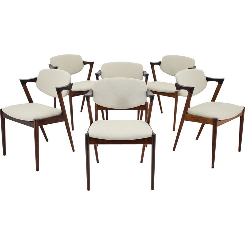 Set of 6 vintage Model 42 Rosewood Dining Chairs,Kai Kristiansen 1960s