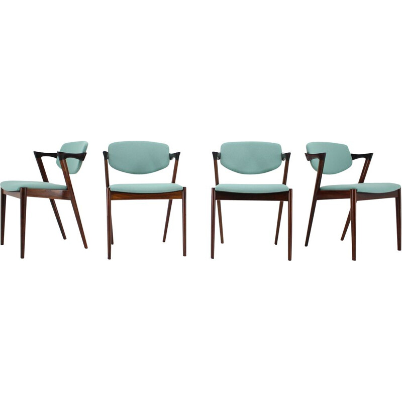 Set of 4 vintage Model 42 Rosewood Dining Chairs,Kai Kristiansen 1960s