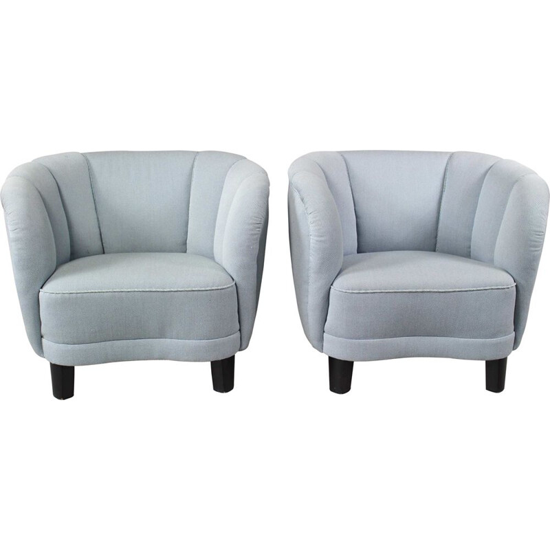 Pair of Curved Lounge or Club Chairs Danish Banana 1940s